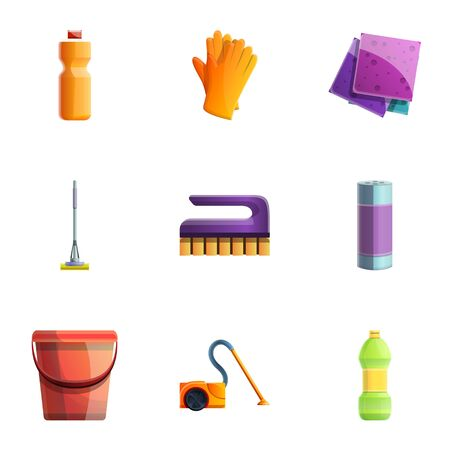 Cleaning tools icon set. Cartoon set of 9 cleaning tools icons for web design isolated on white background Imagens