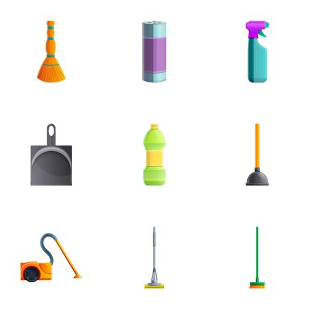 Cleaning equipment icon set. Cartoon set of 9 cleaning equipment icons for web design isolated on white background Imagens