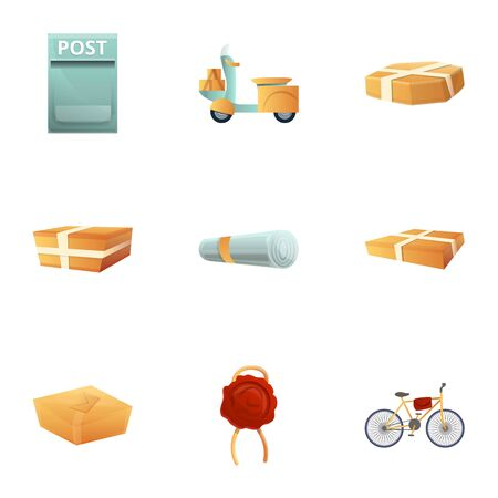 Parcel post delivery icon set. Cartoon set of 9 parcel post delivery icons for web design isolated on white background