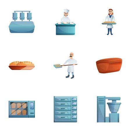 Bakery icon set. Cartoon set of 9 bakery icons for web design isolated on white background 写真素材