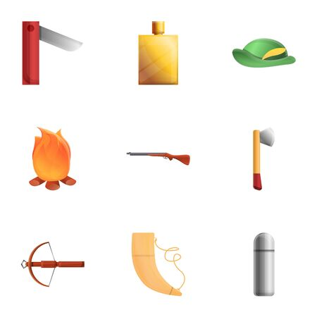 Modern hunter icon set. Cartoon set of 9 modern hunter icons for web design isolated on white background