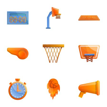 Basketball equipment icon set. Cartoon set of 9 basketball equipment icons for web design isolated on white background Stock fotó