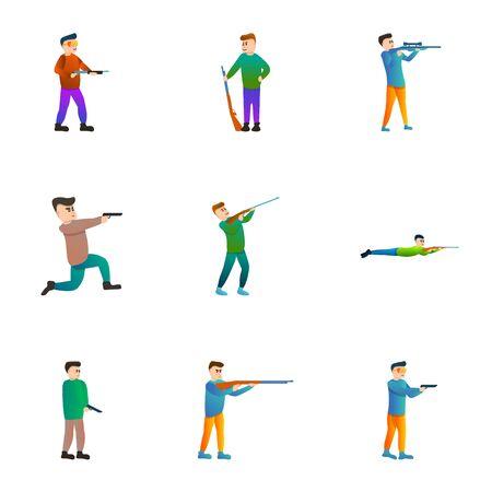 Gun shooter icon set. Cartoon set of 9 gun shooter icons for web design isolated on white background