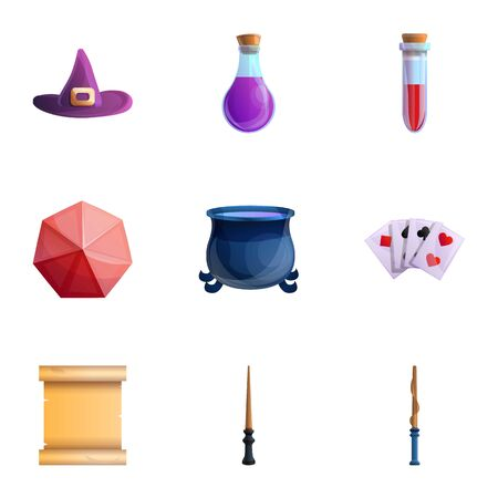 Magician tools icon set. Cartoon set of 9 magician tools icons for web design isolated on white background