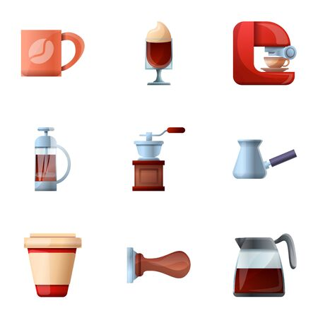 Barista coffee icon set. Cartoon set of 9 barista coffee icons for web design isolated on white background