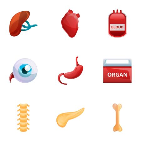Human organs icon set. Cartoon set of 9 human organs icons for web design isolated on white background