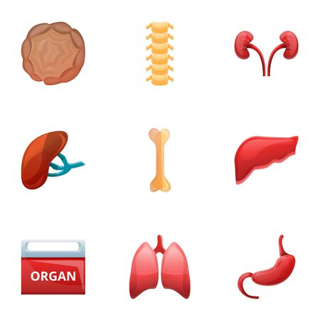 Human organ transplant icon set. Cartoon set of 9 human organ transplant icons for web design isolated on white background