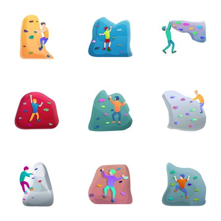 Sport climbing icon set. Cartoon set of 9 sport climbing icons for web design isolated on white background Stok Fotoğraf