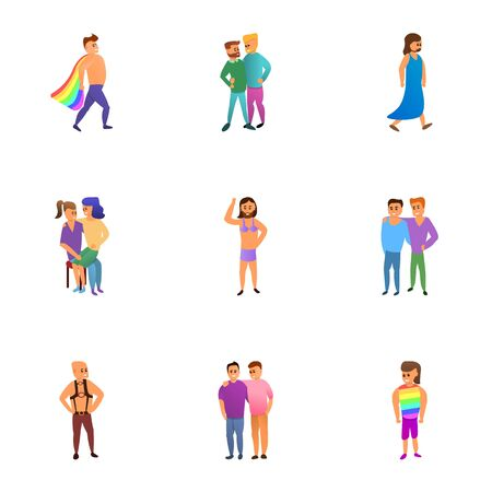Lgbt people icon set. Cartoon set of 9 lgbt people icons for web design isolated on white background