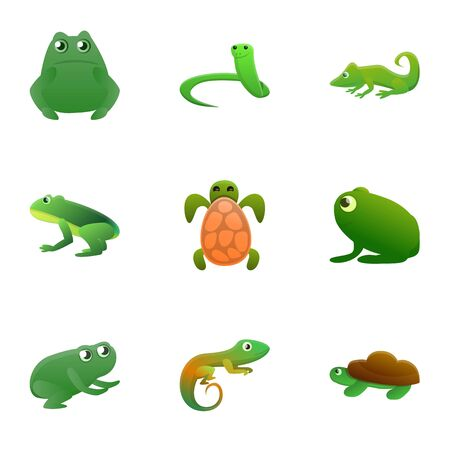 Reptile icon set. Cartoon set of 9 reptile icons for web design isolated on white background