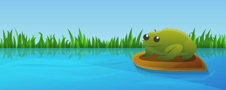 Lake green frog concept banner. Cartoon illustration of lake green frog concept banner for web design