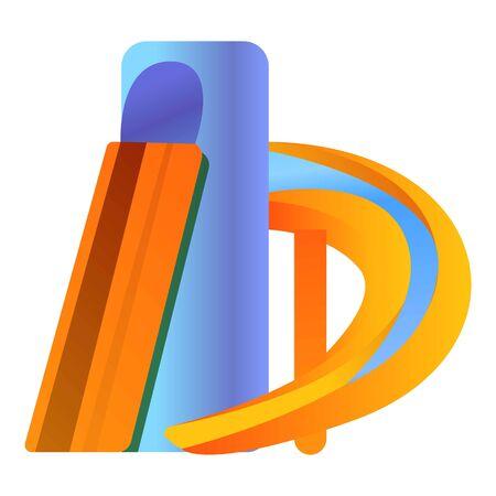 Kid aquapark slide icon. Cartoon of kid aquapark slide icon for web design isolated on white background