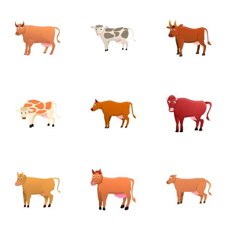 Cow icon set. Cartoon set of 9 cow icons for web design isolated on white background