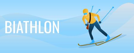 Biathlon concept banner. Cartoon illustration of biathlon concept banner for web design