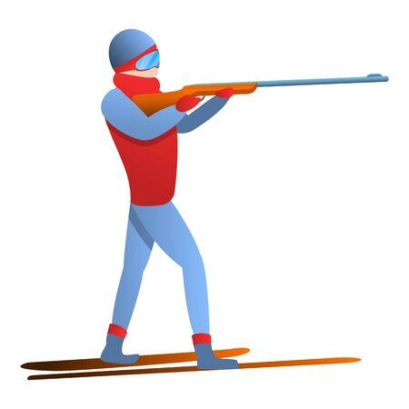 Biathlon man shooter icon. Cartoon of biathlon man shooter icon for web design isolated on white background