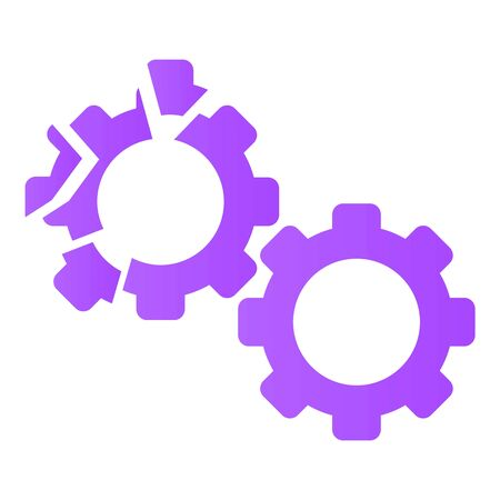 Cracked gear icon. Cartoon of cracked gear icon for web design isolated on white background 写真素材