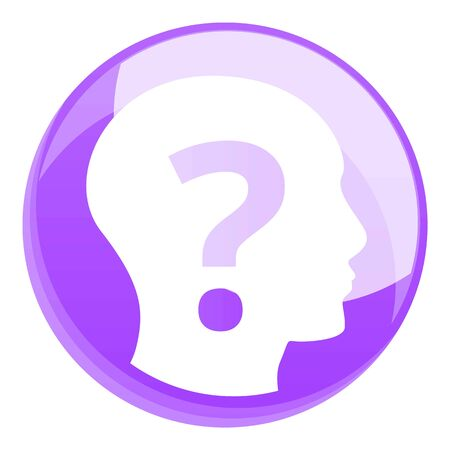 Head question icon. Cartoon of head question icon for web design isolated on white background Stok Fotoğraf