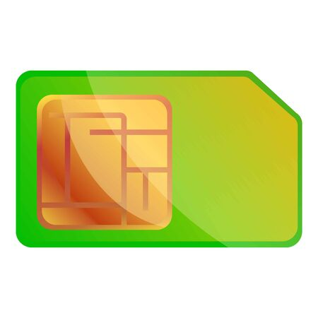 Green sim card icon. Cartoon of green sim card icon for web design isolated on white background Archivio Fotografico - 131877800