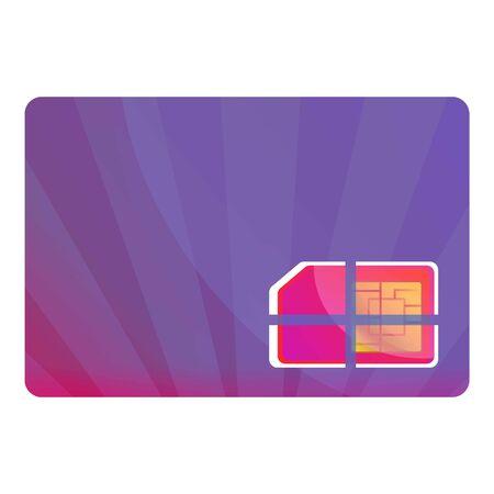 Purple phone sim card icon. Cartoon of purple phone sim card icon for web design isolated on white background Stok Fotoğraf