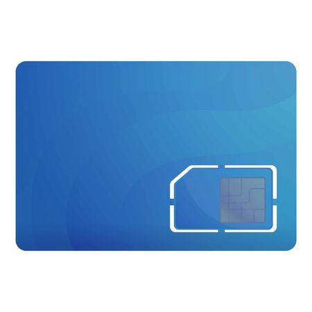 Blue sim card icon. Cartoon of blue sim card icon for web design isolated on white background