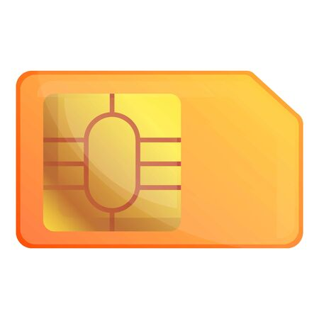 Orange sim card icon. Cartoon of orange sim card icon for web design isolated on white background Stok Fotoğraf