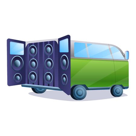 Stereo car music system icon. Cartoon of stereo car music system icon for web design isolated on white background