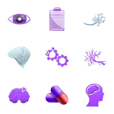 Alzheimer disease icon set. Cartoon set of 9 alzheimer disease icons for web design isolated on white background
