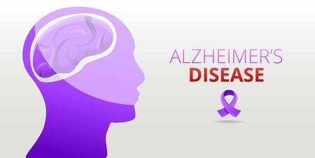 Modern alzheimer disease concept banner. Cartoon illustration of modern alzheimer disease concept banner for web design Stock Photo