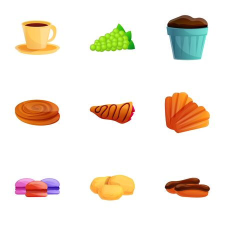 French breakfast icon set. Cartoon set of 9 french breakfast icons for web design isolated on white background