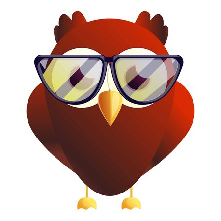 Red owl eyeglasses icon. Cartoon of red owl eyeglasses icon for web design isolated on white background