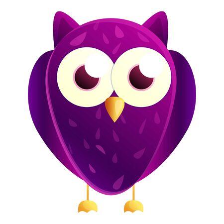 Purple owl icon. Cartoon of purple owl icon for web design isolated on white background Фото со стока