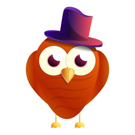 Owl top hat icon. Cartoon of owl top hat icon for web design isolated on white background Stock Photo