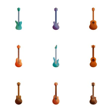 Guitar icon set. Cartoon set of 9 guitar icons for web design isolated on white background Imagens