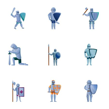 Knights icon set. Cartoon set of 9 knights icons for web design isolated on white background