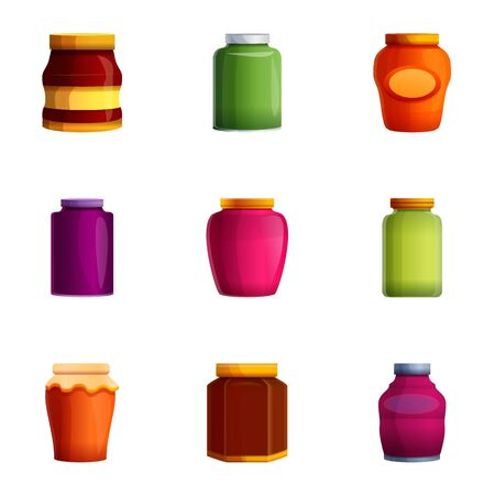 Jam jar icon set. Cartoon set of 9 jam jar icons for web design isolated on white background
