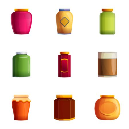 Jam glass jar icon set. Cartoon set of 9 jam glass jar icons for web design isolated on white background