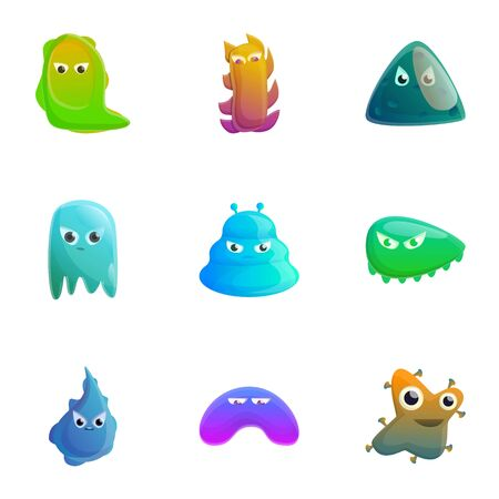 Monster icon set. Cartoon set of 9 monster icons for web design isolated on white background