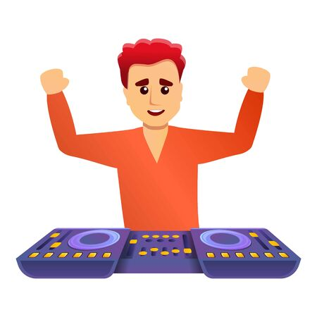 Happy dj music icon. Cartoon of happy dj music vector icon for web design isolated on white background  イラスト・ベクター素材