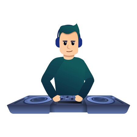 Serious dj icon. Cartoon of serious dj vector icon for web design isolated on white background
