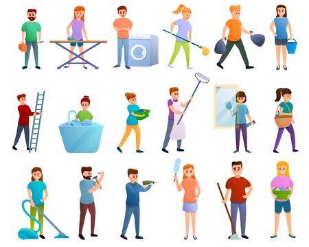 Housekeeping icons set. Cartoon set of housekeeping vector icons for web design Illusztráció