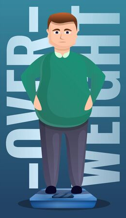 Overweight man on scales concept banner. Cartoon illustration of overweight man on scales vector concept banner for web design