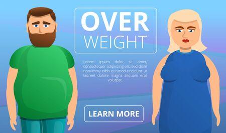 Overweight people concept banner. Cartoon illustration of overweight people vector concept banner for web design Illusztráció