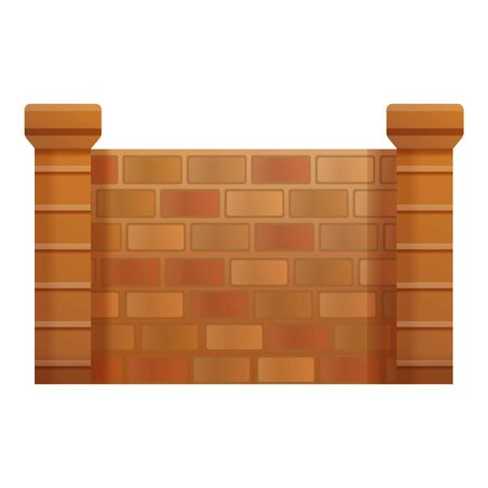 Brick fence icon. Cartoon of brick fence vector icon for web design isolated on white background