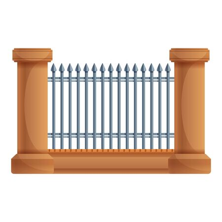 Fence metal gate icon. Cartoon of fence metal gate vector icon for web design isolated on white background Ilustracja