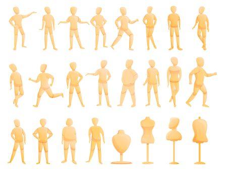 Conjunto de iconos de maniquí. Conjunto de dibujos animados de iconos de vector de maniquí para diseño web