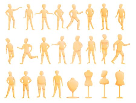 Mannequin icons set. Cartoon set of mannequin vector icons for web design Vectores
