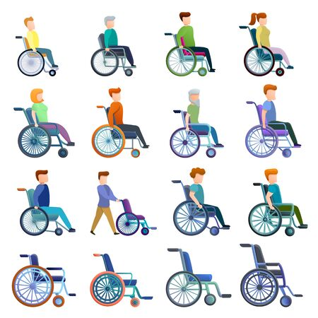 Wheelchair icons set. Cartoon set of wheelchair vector icons for web design