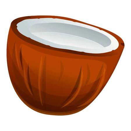 Half coconut icon. Cartoon of half coconut vector icon for web design isolated on white background Çizim