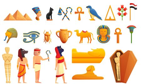 Egypt icons set. Cartoon set of Egypt vector icons for web design