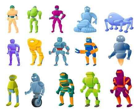 Robot-transformer icons set. Cartoon set of robot-transformer vector icons for web design